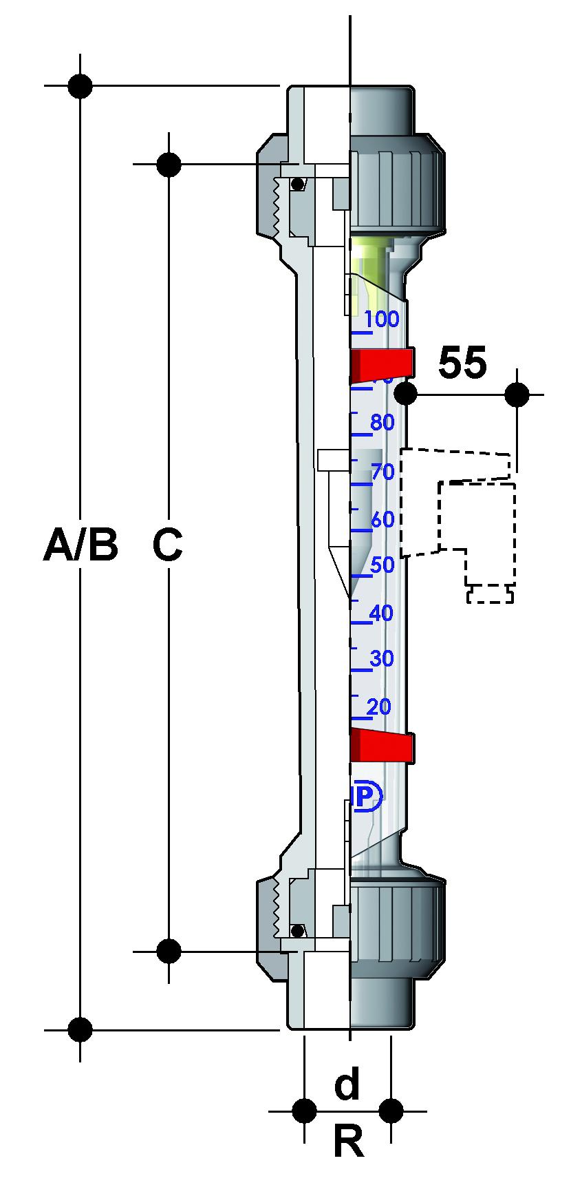 Фото FS ротаметр для воды; корпус: трогамид d32