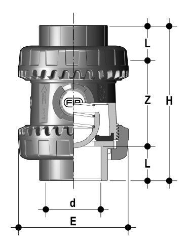 Фото Пружинный шаровой обратный клапан SSE c муфтовыми окончаниями d40 (DN32)