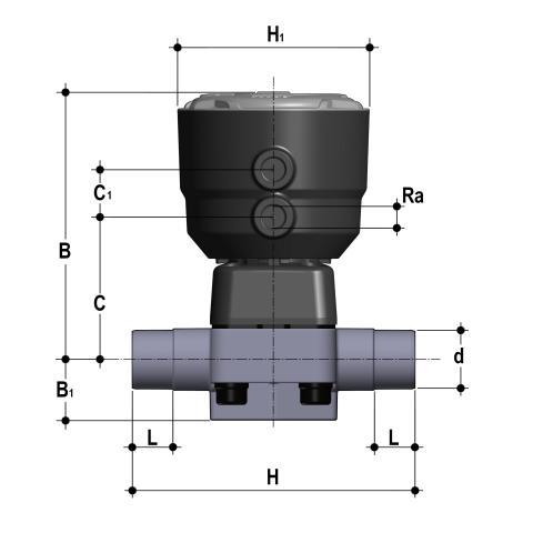 Фото Мембранный клапан DKB с пневмоприводом НЗ, PN6 с втулочными окончаниями d75 (DN63)