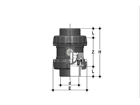 Фото Пружинный шаровой обратный клапан SSE c муфтовыми окончаниями, DN65-100 d75 (DN65)