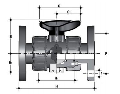 Фото Шаровой кран промышленного применения VKD с фланцевыми окончаниями d32 (DN25)