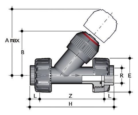 Фото Угловой обратный клапан VR c резьбовыми окончаниями R3/4'' (DN20)