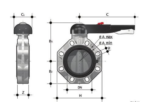 Фото Дисковый затвор промышленного применения FK с рукояткой d50 (DN40)