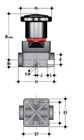 Фото Компактный мембранный клапан CM с муфтовыми окончаниями d20 (DN15)