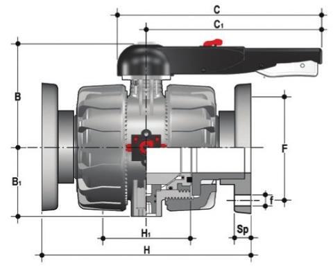 Фото Шаровой кран промышленного применения VKD С фланцевыми окончаниями DN65-100 d90 (DN80)