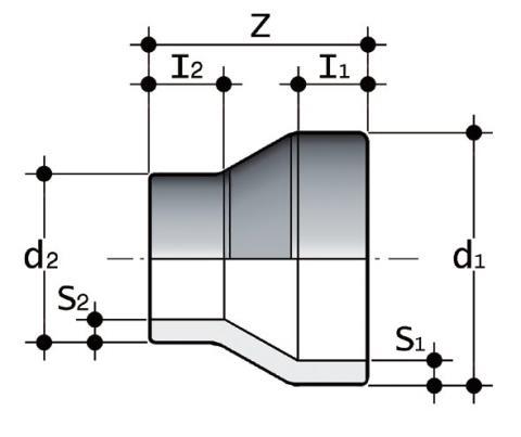 Фото Редукционный переходник для стыковой сварки SDR17-6 PN10 225x200