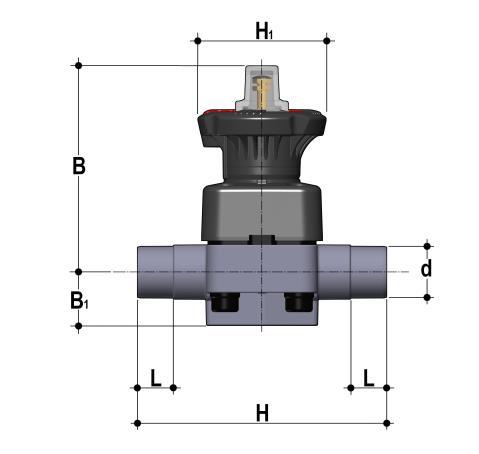 Фото Мембранный клапан DK/L c втулочными окончаниями d32 (DN25)