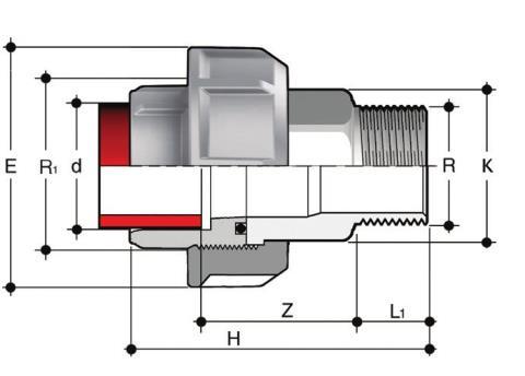 Фото Муфта разборная переходная PP-H / нерж.сталь, HР, EPDM PN10 32x1