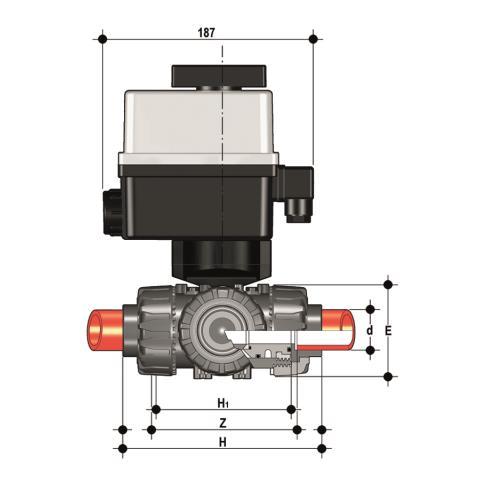 Фото 3-х ходовой шаровой кран TKD с эл.приводом 24V AC/DC, муфтовые окончания, T-шар d63 (DN50)