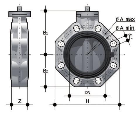 Фото Дисковый затвор промышленного применения FK со свободным штоком d400 (DN400)
