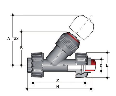 Фото Угловой обратный клапан VR c муфтовыми окончаниями d40 (DN32)