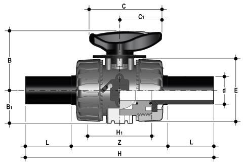 Фото Шаровой кран для регулирования потока VKR c партрубками из ПЭ  d20 (DN15)