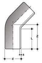 Фото Отвод 45° для стыковой сварки SDR17-6 PN10 d160