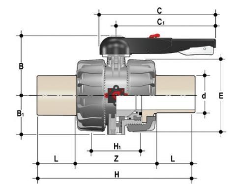 Фото Шаровой кран промышленного применения VKD с патрубками (CVDM), DN65-100 d110 (DN100)