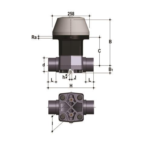 Фото Мембранный клапан VM с пневмоприводом НЗ с втулочными окончаниями d90 (DN80)