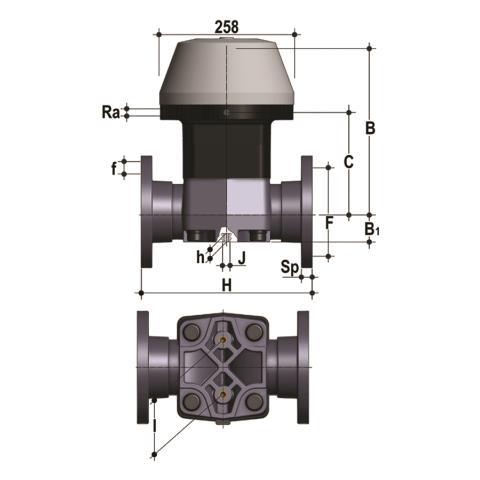 Фото Мембранный клапан VM с пневмоприводом НЗ, PN10 с фланцевыми окончаниями d110 (DN100)