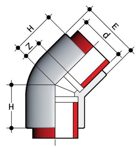 Фото Отвод 45° для раструбной сварки PN10