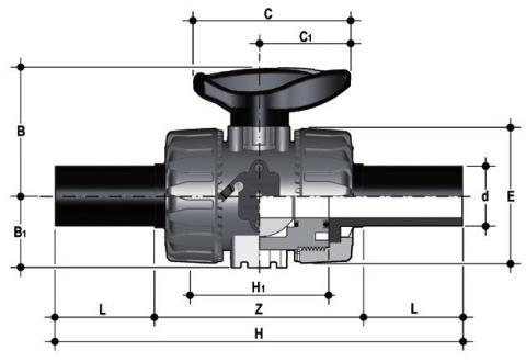 Фото Шаровой кран промышленного применения VKD с патрубками из ПЭ (CVDE) d32 (DN25)