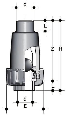 Фото Шаровой обратный клапан SR c муфтовыми окончаниями d50 (DN40)