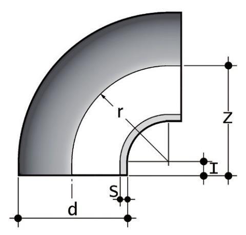 Фото Отвод 90° для стыковой сварки SDR17-6 PN10 d315