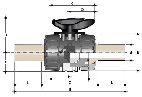 Фото Шаровой кран для регулирования потока VKR c патрубками (CVDM) d40 (DN32)