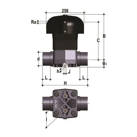 Фото Мембранный клапан VM с пневмоприводом ДвД с втулочными окончаниями d110 (DN100)