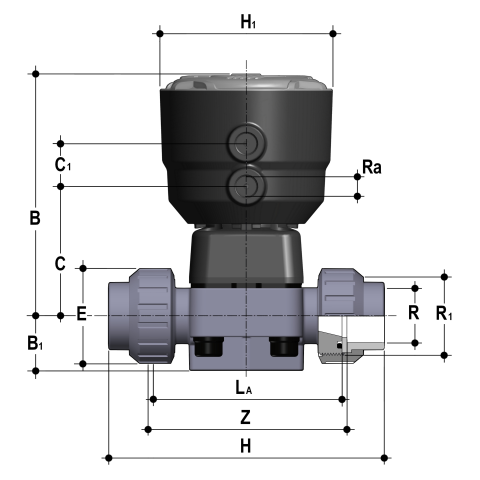 Фото Мембранный клапан DK с пневмоприводом НЗ, PN6 с муфтовыми окончаниями d32 (DN25)