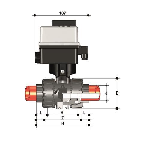 Фото Шаровой кран для регулирования потока VKR с эл.приводом 24V AC 12VDC, муфтовые окончания d63 (DN50)