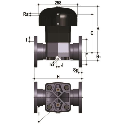 Фото Мембранный клапан VM с пневмоприводом ДвД, PN10 с фланцевыми окончаниями d110 (DN100)