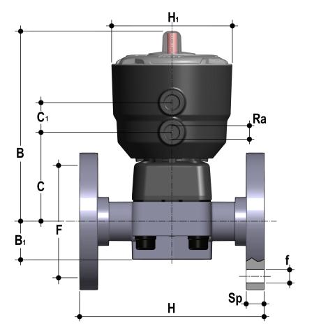 Фото Мембранный клапан DK с пневмоприводом НО, PN10 с фланцевыми окончаниями d40 (DN32)