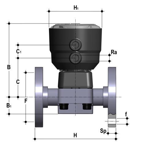 Фото Мембранный клапан DK с пневмоприводом НЗ PN6, фланцевые окончания d40 (DN32)