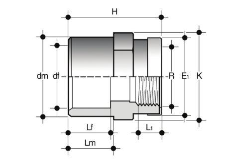 Фото Двойной муфтовый адаптер с ВР и усиливающим кольцом 32x25x1