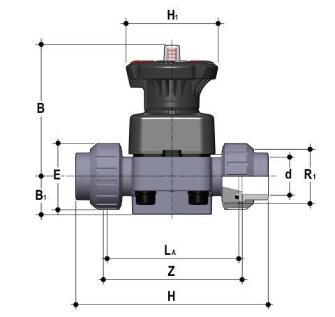 Фото Мембранный клапан DK с разборными муфтовыми окончаниями d32 (DN25)