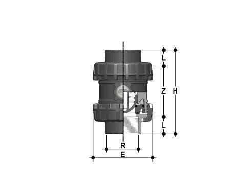 Фото Пружинный шаровой обратный клапан SSE; с резьбовыми окончаниями; DN65-100 R3'' (DN80)