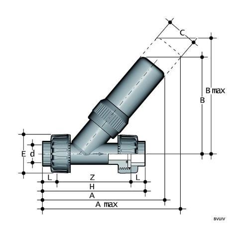 Фото Угловой предохранительный клапан SV с муфтовыми окончаниями d20 (DN20)