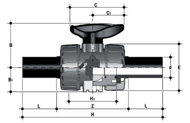 Фото Шаровой кран промышленного применения VKD с патрубками из ПЭ (CVDE) d63 (DN50)