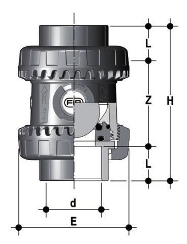Фото Шаровой обратный клапан SXE; с муфтовыми окончаниям d63 (DN50)