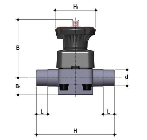 Фото Мембранный клапан DK с втулочными окончаниями d32 (DN25)