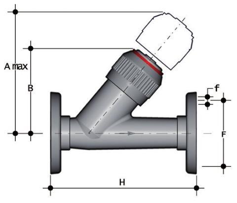 Фото Угловой обратный клапан VR с фланцевыми окончаниями d40 (DN32)