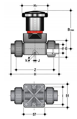 Фото Компактный мембранный клапан CM с пневмоприводом НЗ, разборные муфтовые окончания d20 (DN15)