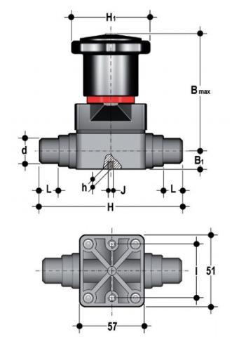 Фото Компактный мембранный клапан CM с пневмоприводом НЗ,  втулочные окончания d20 (DN15)