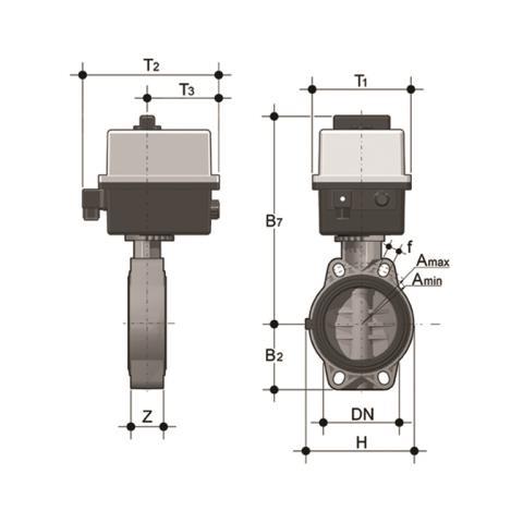 Фото Дисковый затвор общего применения FE c эл.приводом 24V AC/DC d160 (DN150)