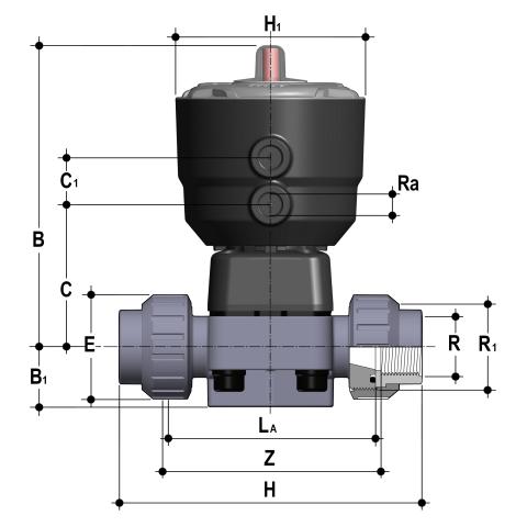 Фото Мембранный клапан DK с пневмоприводом НЗ PN10, резьбовые окончания R3/4'' (DN20)