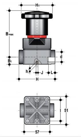 Фото Компактный мембранный клапан CM с пневмоприводом НЗ, муфтовые окончания d16 (DN10)