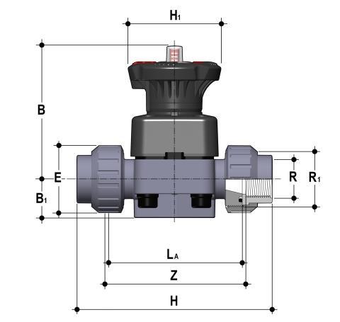Фото Мембранный клапан DK с резьбовыми окончаниями R3/4'' (DN20)