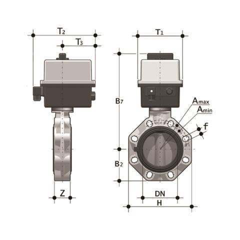 Фото Дисковый затвор промышленного применения FK c эл.приводом  90-240V d225 (DN200)