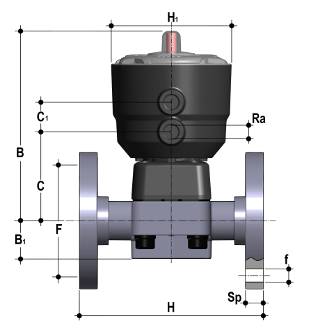 Фото Мембранный клапан DK с пневмоприводом НЗ PN10, фланцевые окончания d40 (DN32)
