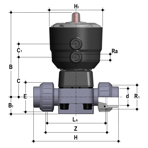 Фото Мембранный клапан DK с пневмоприводом НЗ PN10, муфтовые окончания d32 (DN25)