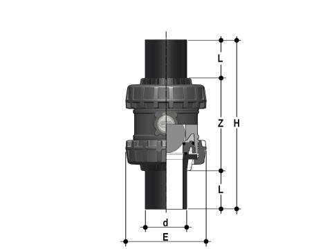Фото Шаровой обратный клапан SXE; с ПЭ патрубками; DN65-100 d90 (DN80)
