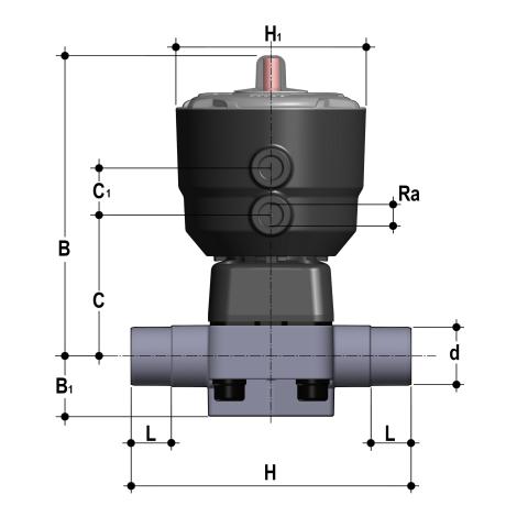 Фото Мембранный клапан DK с пневмоприводом НЗ, PN10 с втулочными окончаниями d40 (DN32)